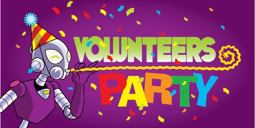 logo for Volunteers Party featuring Connie wearing a party hat, and confetti