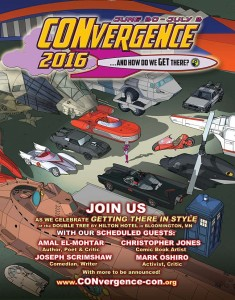 CONvergence 2016 print ad showing Connie in a parking lot with sci-fi vehicles