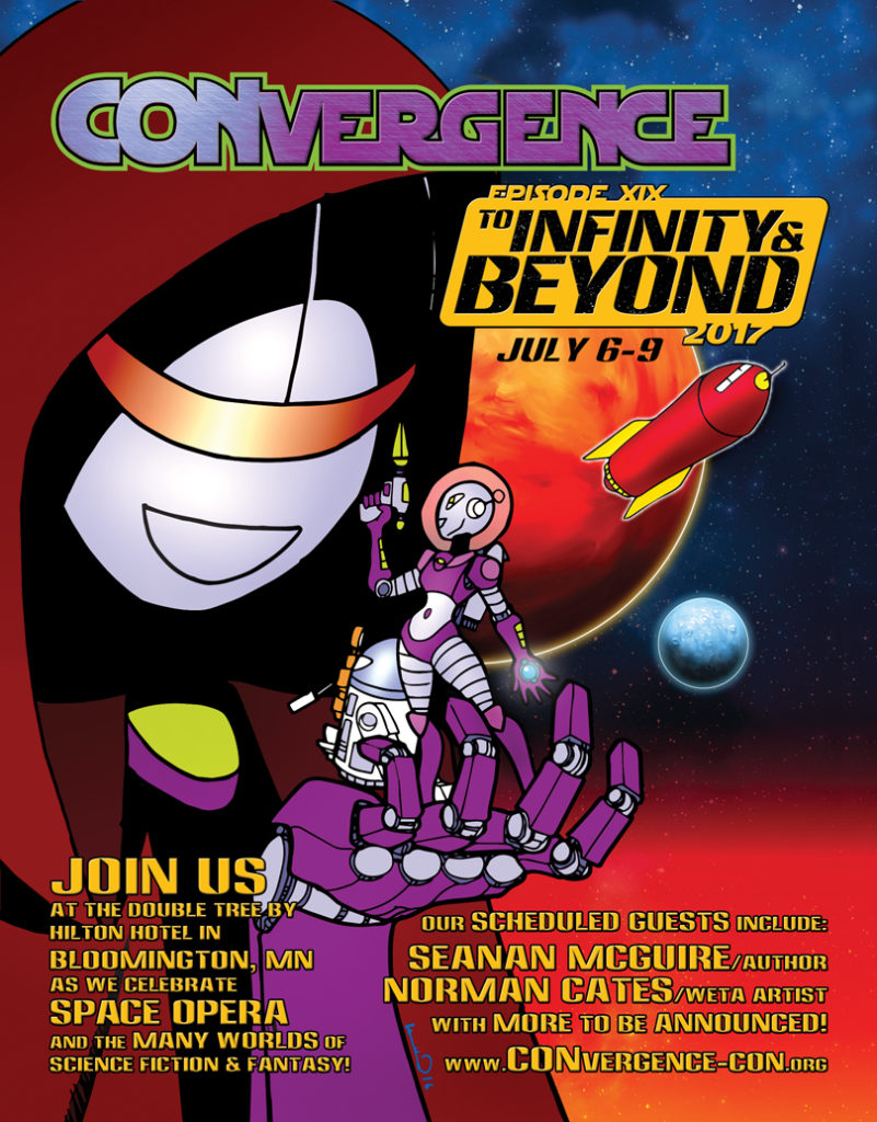 CONvergence 2017 ad featuring Mark 2 and Connie in ourter space. Mark 2 is dressed as a Jedi; Connie is wearing a retro space suit with bubble helmet. There are planets and a rocket ship in the background.