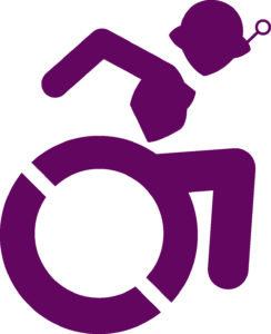 Accessibility Logo Stylized to look like Connie in a wheelchair
