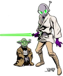 Connie as Luke with Yoda