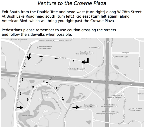pedestrian map to the Crowne Plaza from the DoubleTree