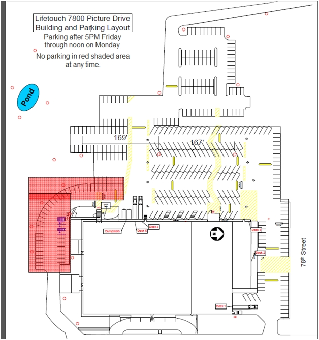 map of parking areas at LifeTouch for CONvergence