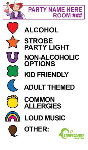 example of party room guide showing a legend of all the symbols