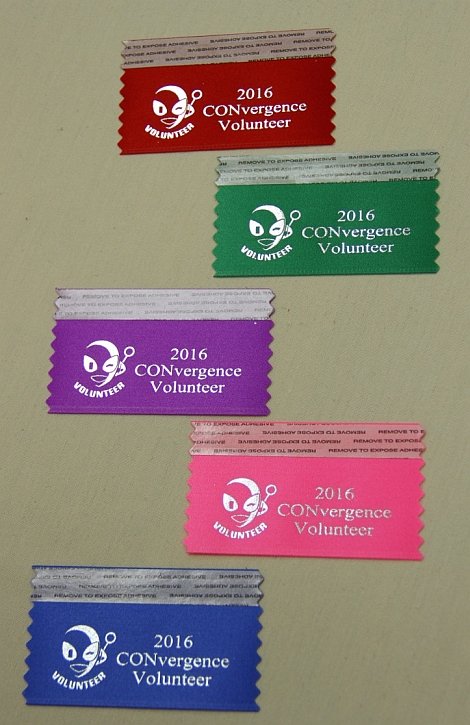 CONvrgence 2016 volunteer ribbons (multiple colors)