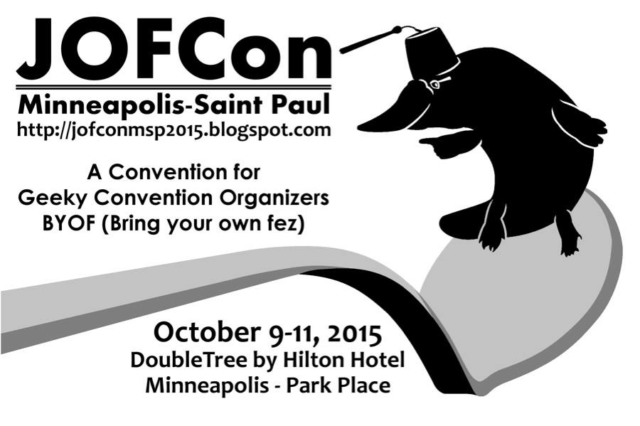 JOFCon Minneapolis-Saint Paul logo showing a platypus wearing a fez