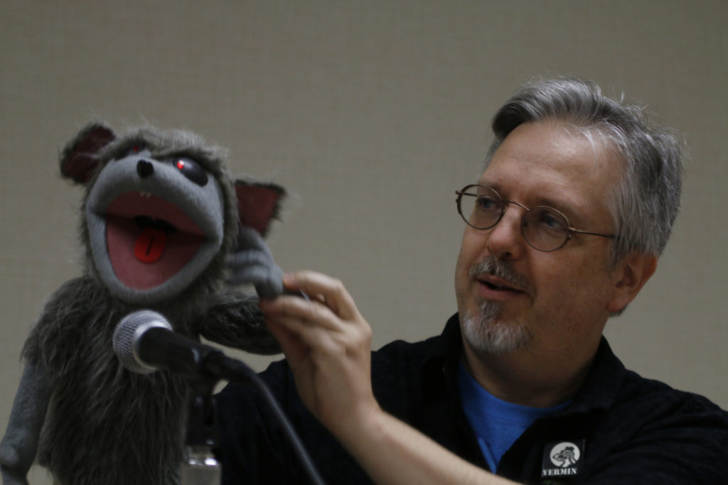 Gordon smuder with rat puppet