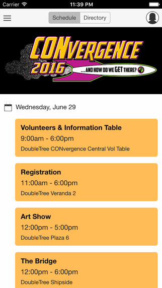 Screenshot of the CVG 2016 Mobile App