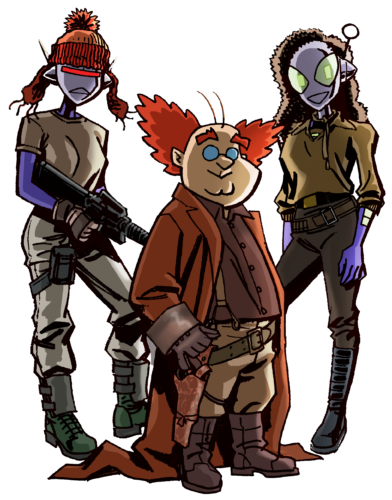 Connie Mark 2, Professor Max, and Connie as Firefly characters