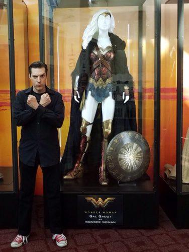Joseph Scrimshaw with a Wonder Woman costume design.