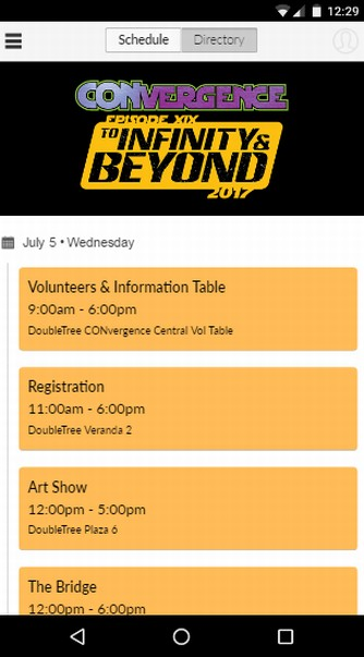 screenshot of CVG2017 App