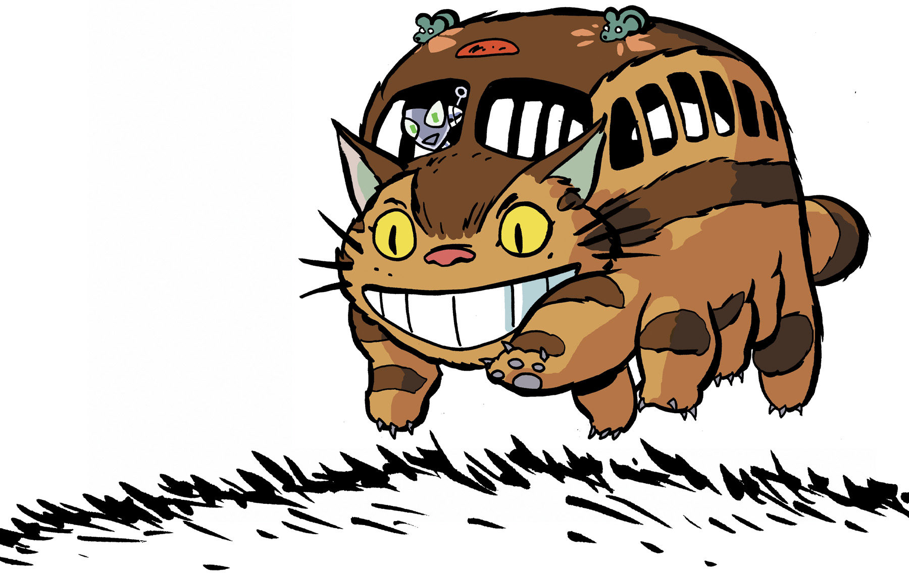 Illustration of Connie riding Catbus